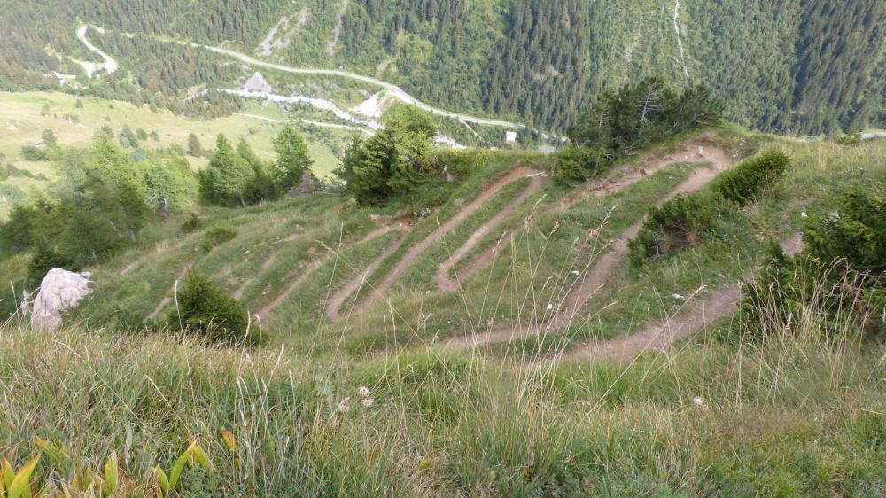 Quelques uns des 100 virages dans la dscente du petit Mont Blanc