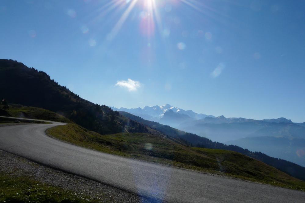 le haut du col de Joux Plane et la vue sur le Mont blanc