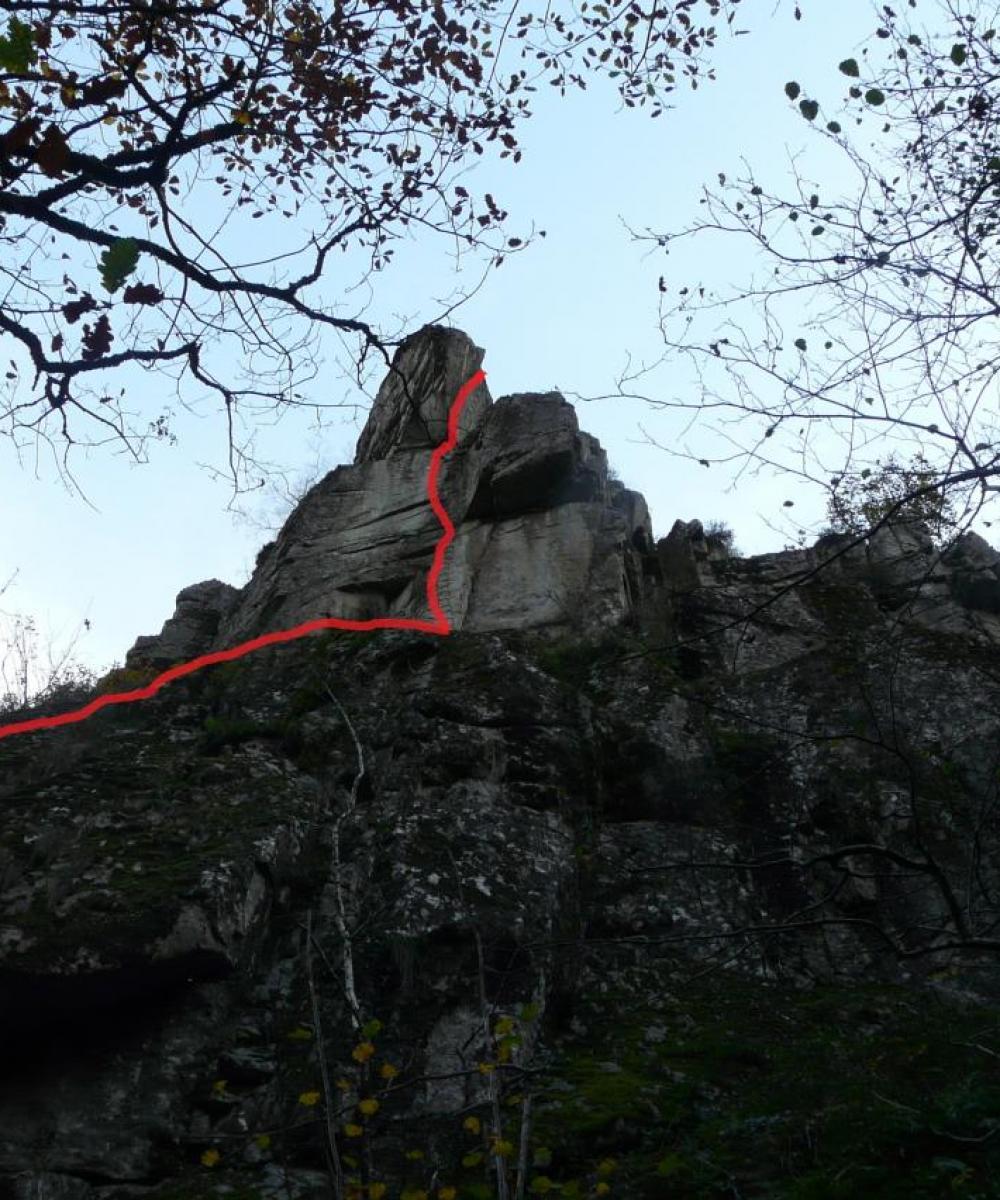 L' itinéraire du pilier des Jonquilles dans la via des bois de Balthuergue