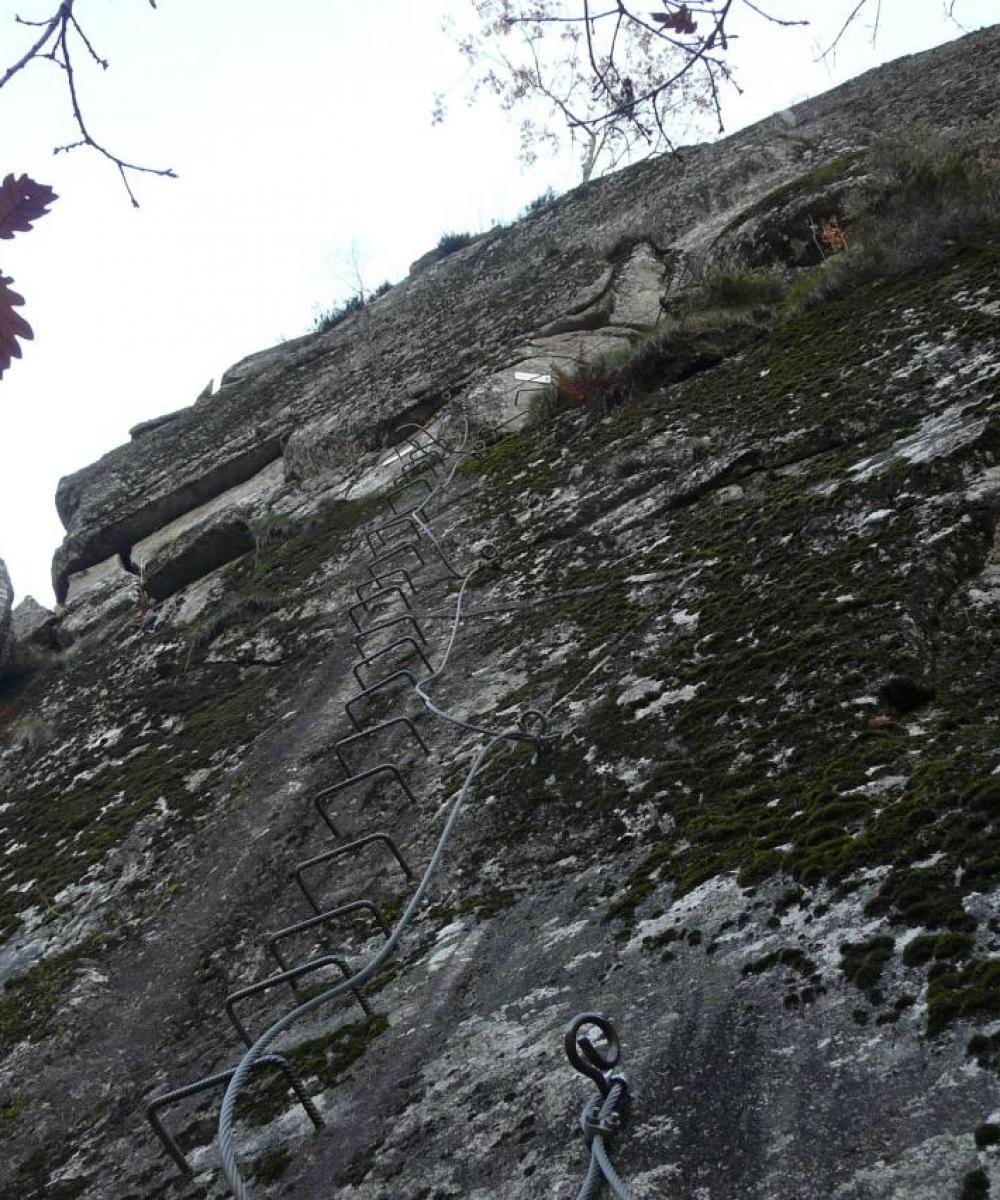 Avant dernier mur du parcours rouge à gravir à la via des bois de Balthuergue