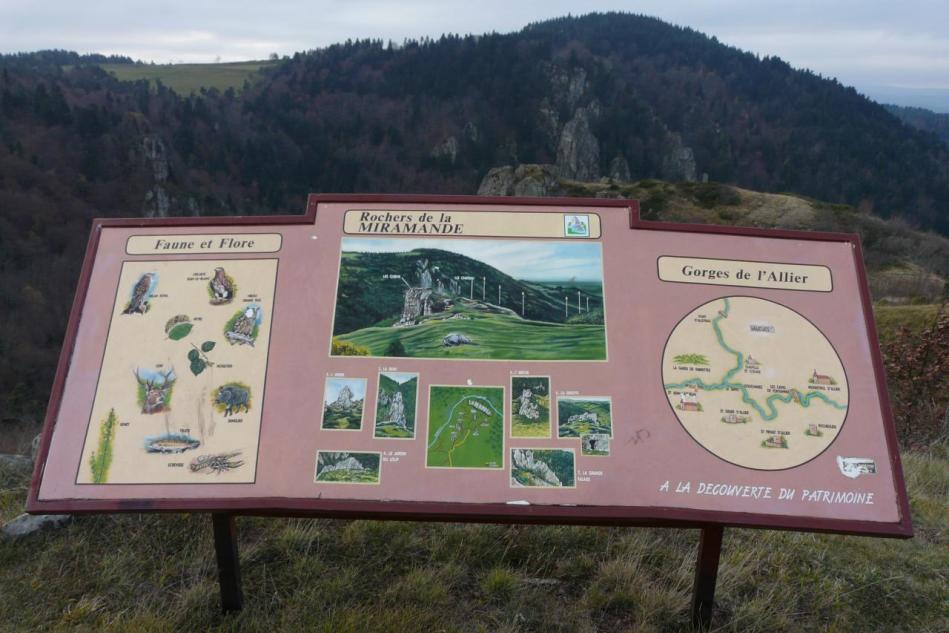 panneau d'info rocher de la Miramande