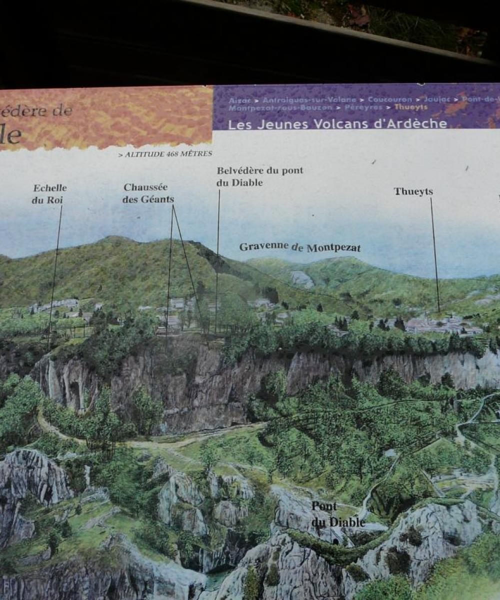 Via de Thueyts -panneau sur le site du pont du diable et histoire de son volcan !
