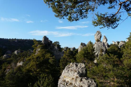 vue générale sur les rochers du chaos de Montpellier le vieux