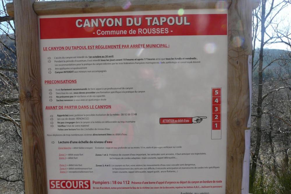 gorges du tapoul : les recommandations !