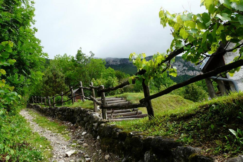 Chemin de départ vers les vias ferrata Jules Caret et P'tchi , grotte et cascade de la la Doria depuis Lovetaz