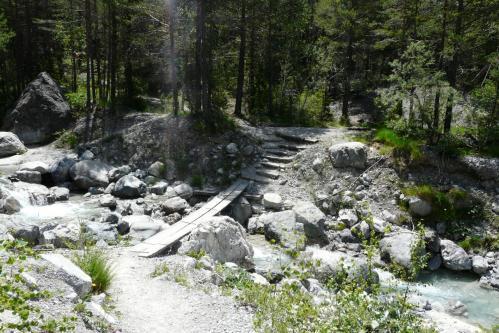 Traversée d'une passerelle symbolique dès le départ sur le torrent qui descend du vallon des Ascles