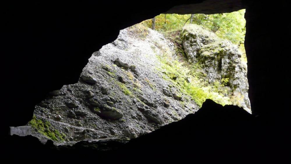 l' entrée de la grotte du Brudour vue de l' intérieur