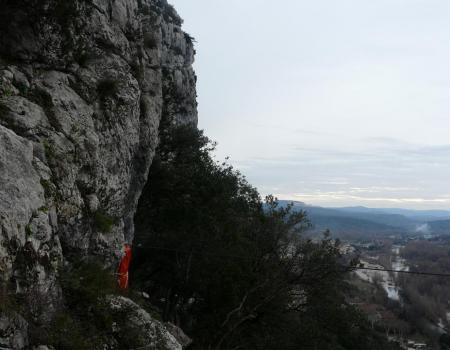 la tyrolienne du Thaurac et son matelas de réception