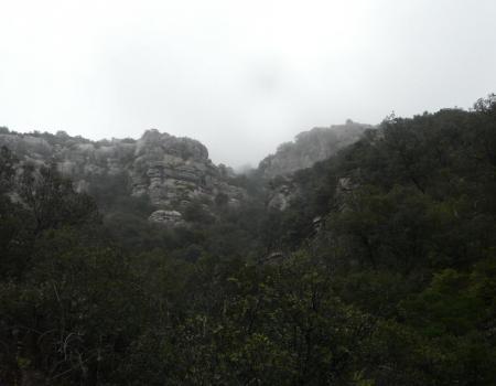 les rochers du Ranc des Banes dans la brume