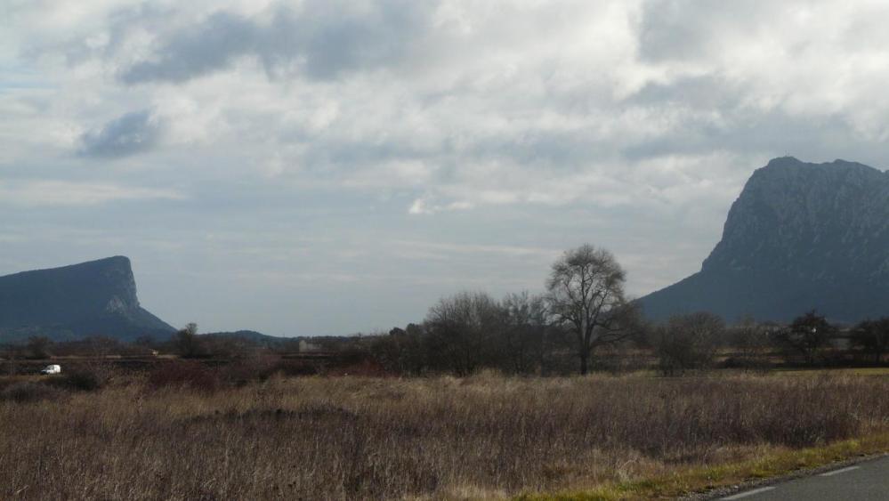 Pic St Loup et montagne de l' Hortus vus depuis St Martin de Londres