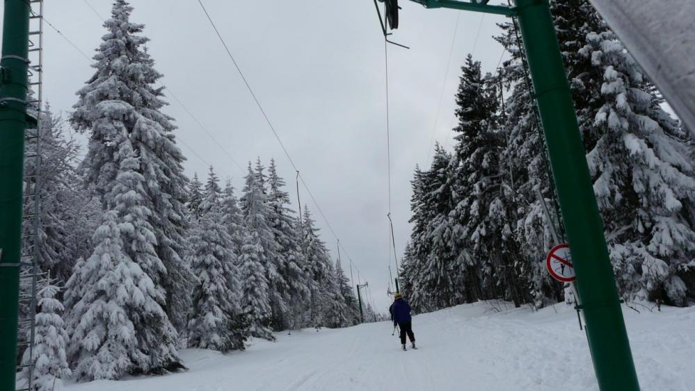 télé ski de la forêt qui mène à une belle rouge