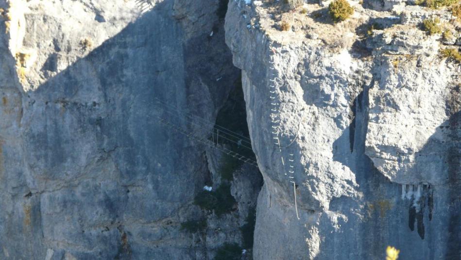 la verticale TD de sortie de la via de Florac(photo prise pendant la construction)