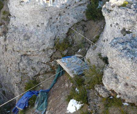 le stocgadu materiel dans un des petits canyon de la via