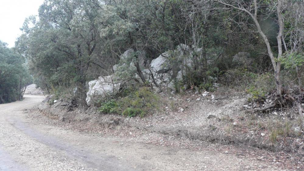 le sentier d' accès à la grotte de l' Hortus depuis la piste