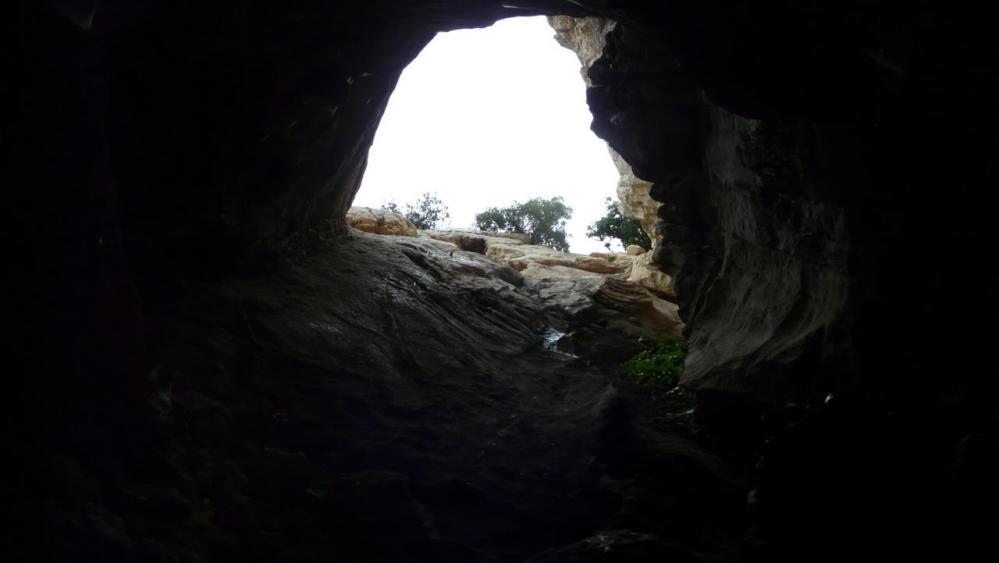 la descente un peu glissante dans la grotte de l' Hortus