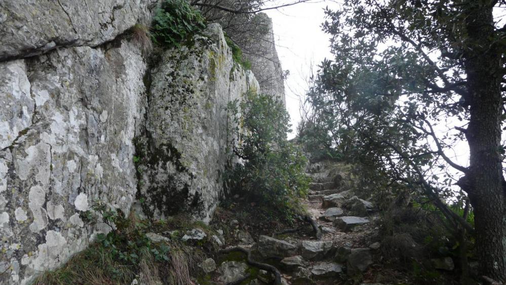 la montée jusque dans le château de Viviourés