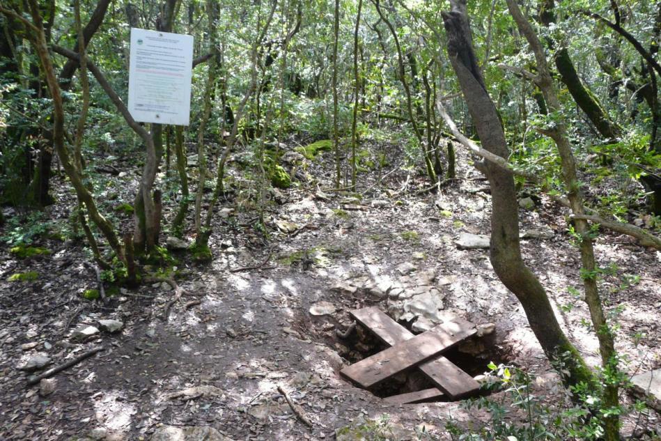 l' entrée de la grotte arva à Méjannes le Clap