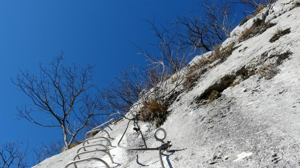 la remontée finale du pilier de la via du rocher du Cornillon