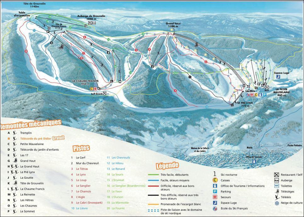 Plan pistes ski gerardmer