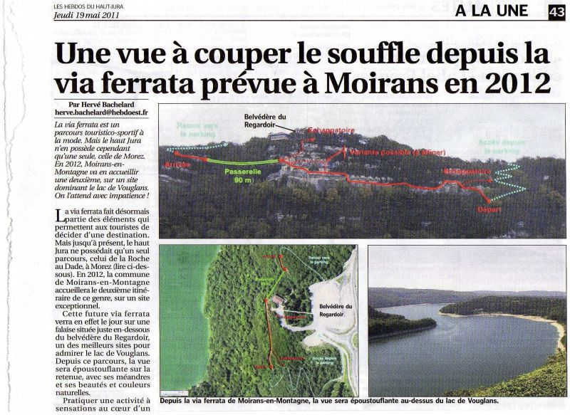 article de presse, ouverture de la via du regardoir à Moirans en montagne