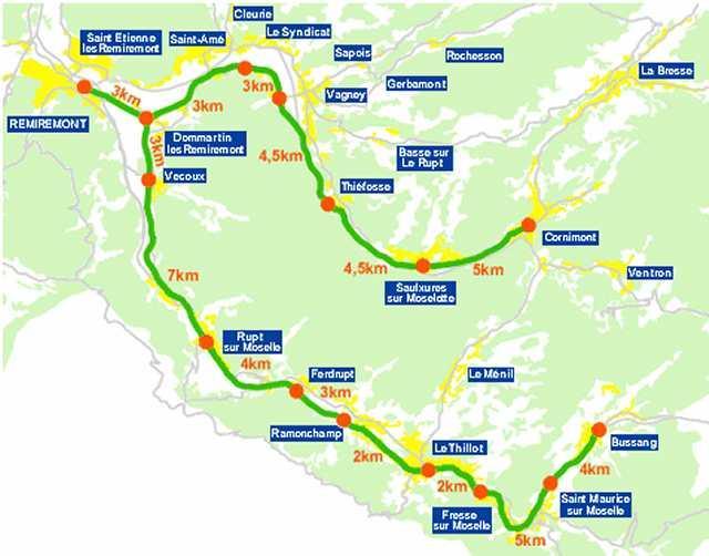 la  totalité de la voie verte depuis remiremont vers Bussang et Cornimont (2011)