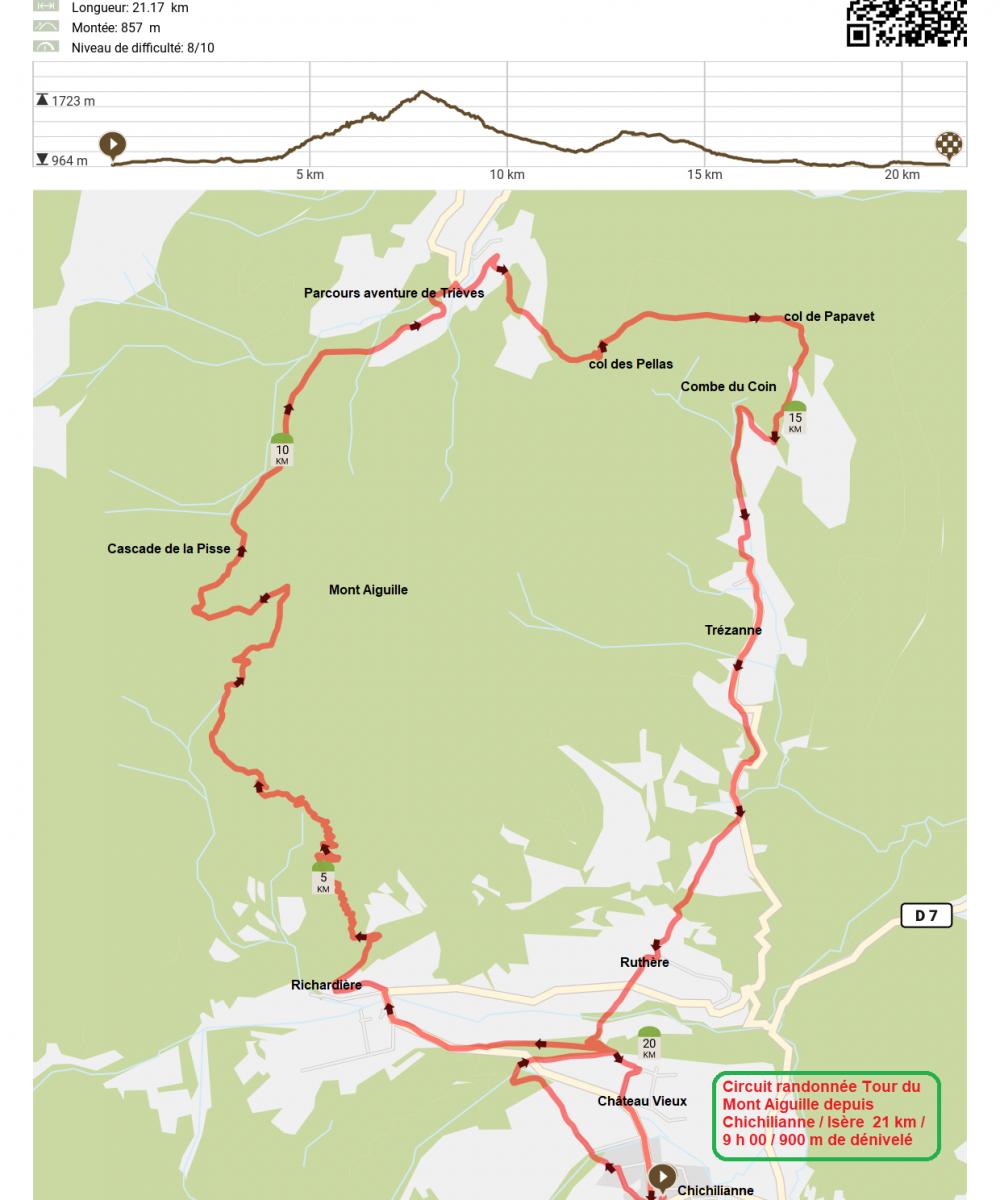 Circuit randonnee tour du mont aiguille depuis chichilianne