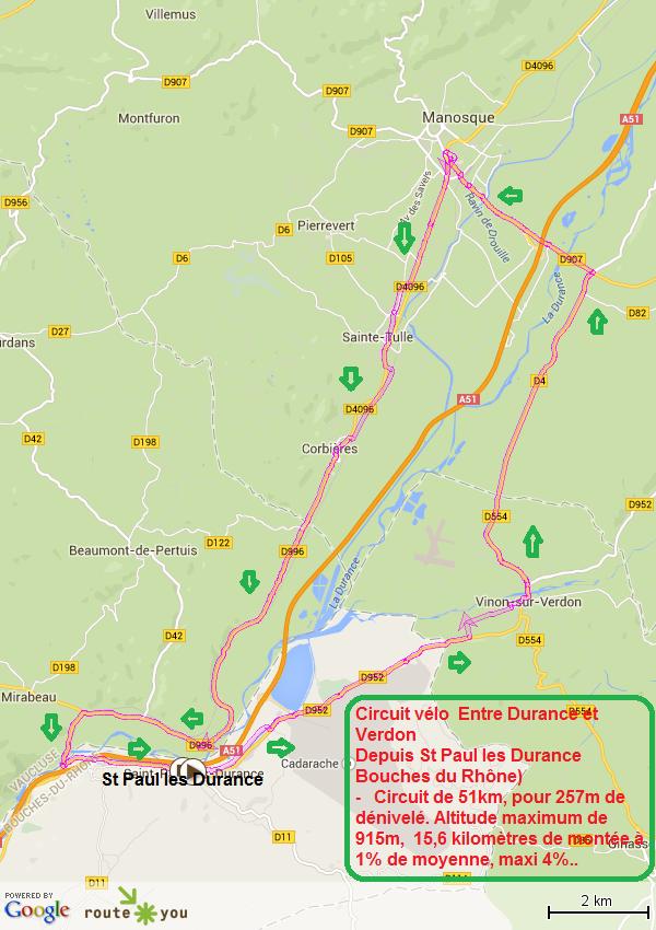 Circuit vélo entre Durance et Verdon