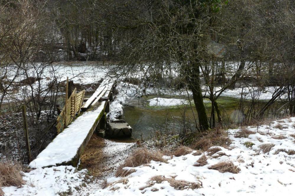 le barrage ouvert de l' étang privé