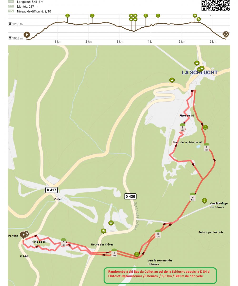Randonnee a ski depuis la d 34d sous le collet route des cretes col de la sclucht et retour