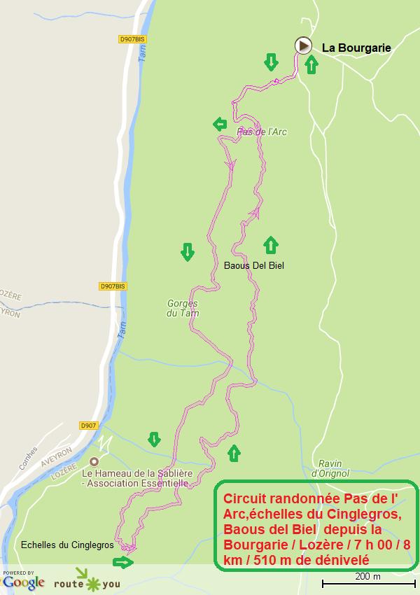 Randonnée Pas de l arc, Echelles du Cinglegros, Baous del Biel depuis La Bourgarie, Lozere