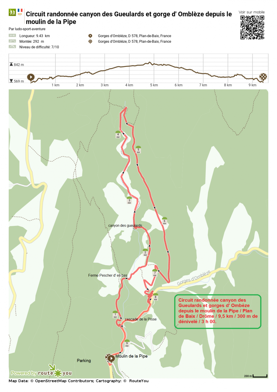 Routeyou circuit randonnee canyon des gueulards et gorge d ombleze depuis le moulin de la pipe
